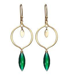 Arabesque earrings in 24k gold vermeil  Green onyx marquise briolette (1.75
