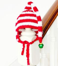 Candy Cane Elf Baby Hat | Your baby will be jinglin' and janglin' all holiday season in this perfect crochet hat!