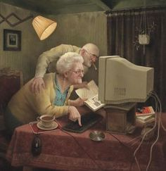 It's never too late to learn. Art And Illustration, Old Couple In Love, Arte Country, Farm Art, Social Art, Dutch Artists, Funny Art, Computer, Painting Art