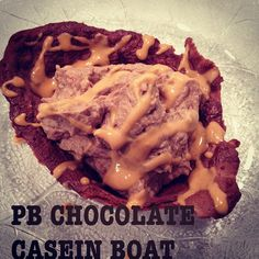 PB2 Chocolate Casein Boat (perfect late night snack) ======= 1 scoop chocolate casein protein 1 tbs PB2 1/4 cup egg whites --- microwave in a small bowl for 1-1:30 mins Fill with chocolate protein mixed greek yogurt drizzle PB2 on top