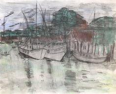 Original artwork drawing seascape - shrimp boats at dock in Shem Creek - water color over graphite