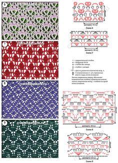«Волнообразные» и с шахматным порядком мотивы со схемами и обозначениями для вязания крючком. Страница 144.