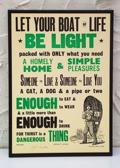 Let your boat of life be light | Narrowboat Swallow