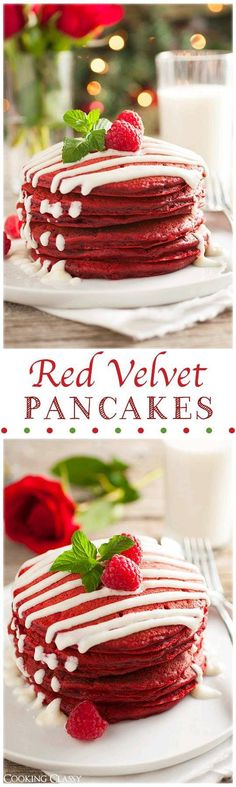 Red Velvet Pancakes with Cream Cheese Glaze - we have these for Christmas morning breakfast, they are AMAZING! (Delicious Red Velvet Pancakes make breakfast much better! Breakfast Desayunos, How To Make Breakfast, Breakfast Ideas, Breakfast Recipes, Breakfast Casserole, Mexican Breakfast, Breakfast Sandwiches, Yummy Treats, Sweet Treats