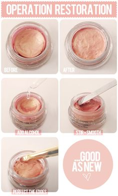 Make your powder pack or old cream shadow be as good as new again! - A great tip to know since I don't wear makeup all that often so it'd definitely extend its longevity.