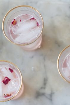 Rhubarb and rose syrup drink