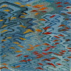 Floating Leaves, tapestry, pure wool, hand woven by Louise Oppenheimer available  at http://www.creativeartsgallery.com/art/tapestry-textile-art/floating-leaves-2/