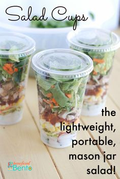 Salad cups - the new, lightweight, easy to carry, lunch box-friendly, mason jar salad!