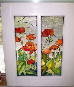 More Mosaic poppies! Mosaic Flowers, Stained Glass Flowers, Stained Glass Designs, Stained Glass Panels, Stained Glass Projects, Stained Glass Patterns, Stained Glass Art, Mosaic Glass, Mosaic Windows