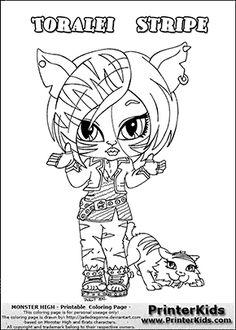 monster high toralei stripe baby chibi cute coloring page - Monster High Chibi Coloring Pages