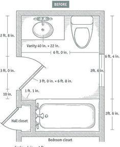More On Baths Slideshow 7 Small Bathroom Floorplan Layouts Kitchen Planning Design