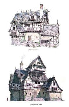 auberges fortifiées - route des caravanes entre Fortinun et Minrath Building Drawing, Building Sketch, Building Concept, Building Art, Building Design, Fantasy Town, Fantasy House, Medieval Houses, Medieval Town