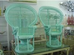 Pair of Turqouise Ocean Blue Fan Chairs