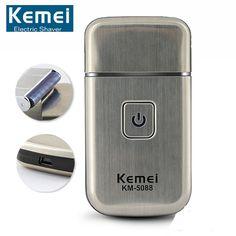Original Kemei Mini Portable Men's Navaja Electric USB Rechargeable Barbeador Head Razor Cordless Beard Shaver Travel KM-5088