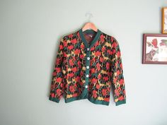 vintage cardigan/ floral print / 1970s floral printed cardigan XS - S