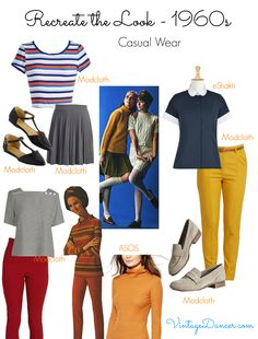 1960s style clothing- casual relaxed looks with simple, colorful pants and tops and comfy flats.