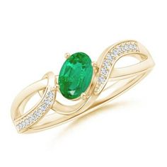 Solitaire Oval Emerald Pave Diamond Twisted Ring 14k Yellow Gold Size 3-13