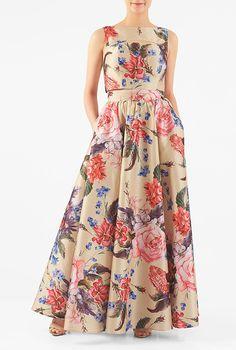 Cutout floral dupioni two-piece maxi dress #eShakti