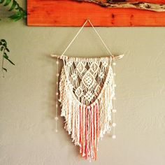"""87 Likes, 7 Comments - Liz Selva (@lizselvamacrame) on Instagram: """"A sweet little macrame wall hanging with rose quartz made for a beautiful baby girl #macrame…"""""""