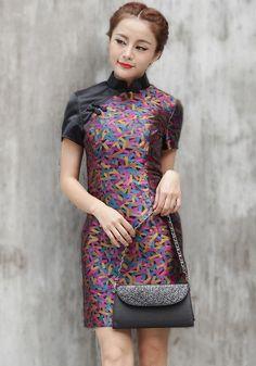 Color Blocking Cheongsam / Qipao / Chinese Dress