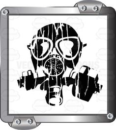 Black Gas mask On White Inside Grey Metal Square #airborne #breathe #caution #cover #danger #eyes #face #gas #inhale #label #lungs #mouth #nose #PDF #poison #protection #respirator #risk #safety #security #sign #symbol #threat #toxic #vectorgraphics #vectors #vectortoons #vectortoons.com #warning
