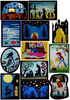 """Die Anleitungen zu diesen Bildern stehen alle im Buch """"Transparente Fensterbilder Märchen"""""""