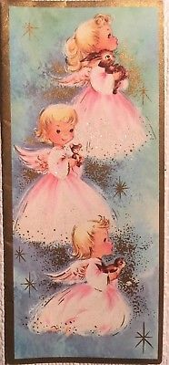 Vintage Mid Century Used Christmas Card Darling Glittered Angels In Pink
