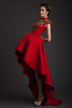 Wholesale Wedding Dress - Buy 2014 Wedding Dresses A-Line High Neck Red Satin Bridal Gowns Appliques Cap Sleeves Hi-Lo Evening Dress by Krikor Jabotian Prom Gown, $119.69   DHgate