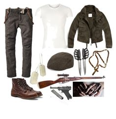 """Inglourious Basterds OC"" by sammywinchester05 ❤ liked on Polyvore featuring Versace, Country Gentlemen, Club Monaco and Abercrombie & Fitch"