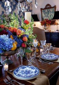 Love blue and white plates. Rustic and charming table.