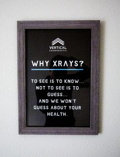 This is the updated x-ray room sign in the Gonstead Clinic of Chiropractic. Help your patients understand why Gonstead doctors take spinal images. 11x17 ready to frame.                                                                                                                                                                                 More