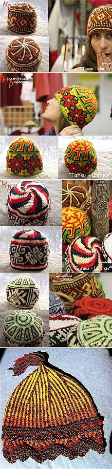 Hats with a bright ornament