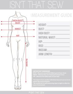 Accurate body measurements are essential to making sure your finished pieces fit you perfectly | From Isn't That Sew