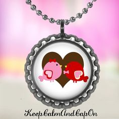 Love bird bottle cap necklace