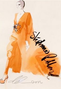 Fashion illustration by David Downton, 2012, Stéphane Rolland, Paris Couture.