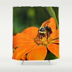 Bumblebee Hard At Work Shower Curtain by Photography By MsJudi - $68.00