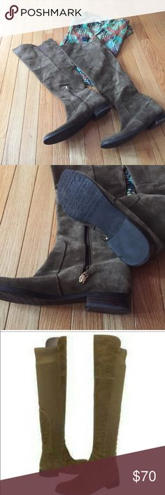 """Franco Sarto over the knee suede boots Sz 9 Gorgeous color for fall. Short zipper at ankle, stacked heel, and stretchy elastic. Approx 1"""" high heel and 21.5"""" height. Great shape, sometimes look dark olive, sometimes dark beige? Smoke free. e Franco Sarto Shoes Over the Knee Boots"""