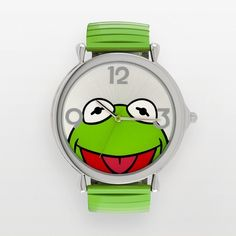 Disney Muppets Kermit the Frog Silver Tone Expansion Watch ($45) ❤ liked on Polyvore