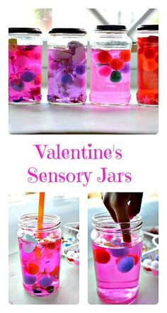 Easy to make Valentine's sensory jars.. Works for kids all ages.. You can always make these in plastic bottles..