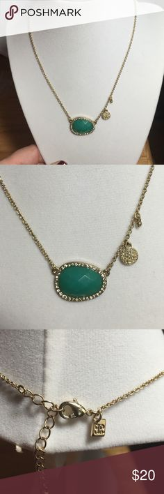 "NWOT banana republic necklace Banana Republic necklace nwot Gold plate with green stone 16"". Worn once. No missing stones Banana Republic Jewelry Necklaces"