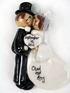Personalized Bread Dough Bride and Groom Christmas Ornament via Etsy