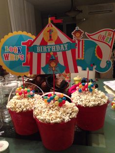 circus theme centerpieces with peanuts instead of popcorn Circus Party Decorations, Carnival Themed Party, Carnival Birthday Parties, Carnival Themes, Circus Birthday, First Birthday Parties, Circus 1st Birthdays, First Birthdays, Party Centerpieces