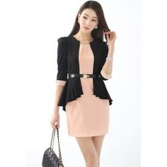 $18.12 Ladylike Scoop Neck Solid Color Fake Two Piece With Waistbelt Splicing Three Quater Sleeves Chiffon Dress For Women
