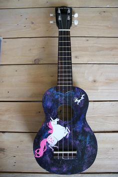 Ukulele Art, Ukulele Songs, Guitar Painting, All About Music, Space Cat, Music Is Life, Musical Instruments, Musicals, Hand Painted
