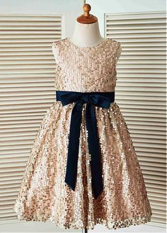 Shining Sequin Lace Jewel Neckline Floor-length A-line Flower Girl Dresses With Bowknot