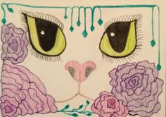 """Here Kitty, Kitty"" hand drawn ATC, colored pens and pencils."