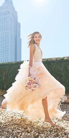 24 Peach & Blush Wedding Dresses You Must See ❤ See more: http://www.weddingforward.com/peach-blush-wedding-dresses/ #wedding #dresses #peach #blush