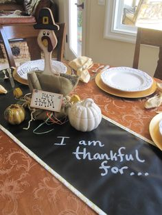 I am thankful for...Bring Chalk Cloth to Your Thanksgiving Table #chalkcloth #ScribbleLinens More at ScribbleLinens.com