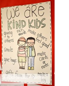 Kindness - The students can help create this poster of ways they should act in the classroom or act toward others. This will be hung up in the classroom and students will know what is expected from them. Classroom Behavior, Kindergarten Classroom, Preschool Behavior, Kindergarten Gifts, Classroom Organization, Classroom Management, Behavior Management, Classroom Ideas, Beginning Of The School Year