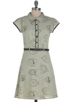 Get Along Swimmingly Dress - Grey, Black, Print with Animals, Work, Shirt Dress, Short Sleeves, Mid-length, Belted